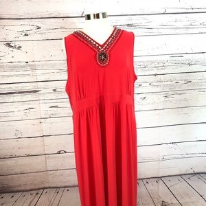 Elementz stretchy maxi dress red sleeveless metal